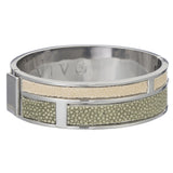 Hinged Bangle With 2 Color Genuine Shagreen Inlay-Celadon, Ivory - New York Look fashion retail style designer brands like Uma