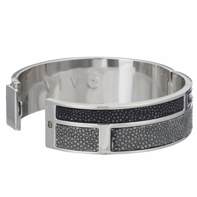 Hinged Bangle With 2 Color Genuine Shagreen Inlay-Gray, Black - New York Look fashion retail style designer brands like Uma