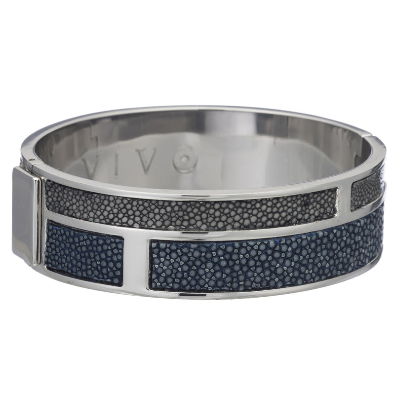 Hinged Bangle With 2 Color Genuine Shagreen Inlay-Navy, Gray - New York Look