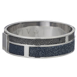 Hinged Bangle With 2 Color Genuine Shagreen Inlay-Navy, Gray - New York Look fashion retail style designer brands like Uma
