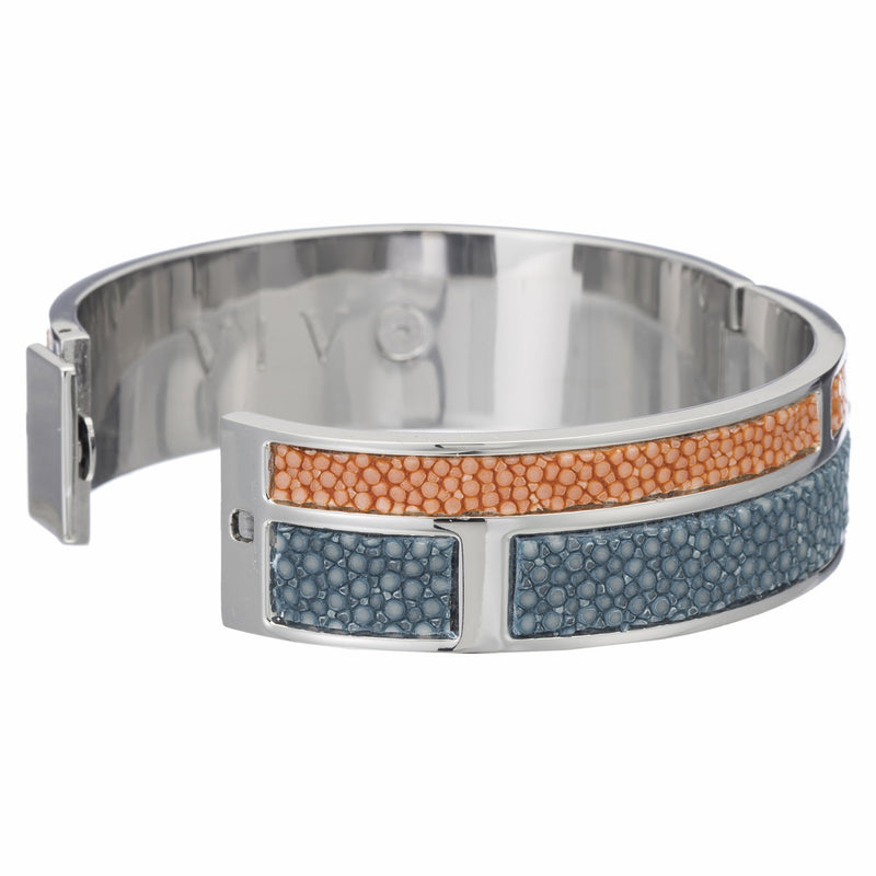 Hinged Bangle With 2 Color Genuine Shagreen Inlay-Niagara, Orange - New York Look fashion retail style designer brands like Uma