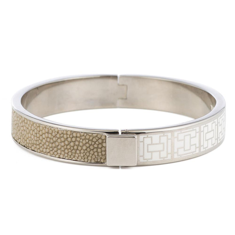 CORFU Hinged white enamel bangle, inlay - New York Look fashion retail style designer brands like Uma
