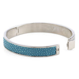 CORFU Hinged gray enamel bangle, inlay - New York Look fashion retail style designer brands like Uma