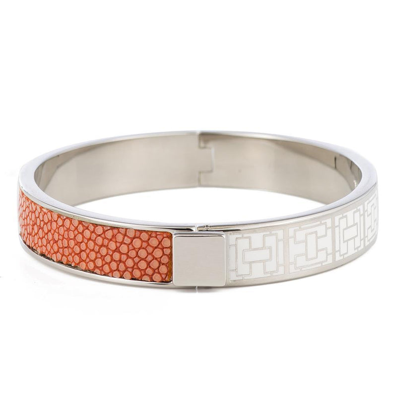 CORFU Hinged white enamel bangle, inlay - New York Look