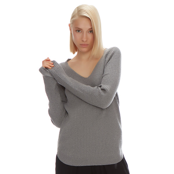 RIBBED CASHMERE V NECK - New York Look fashion retail style designer brands like Uma