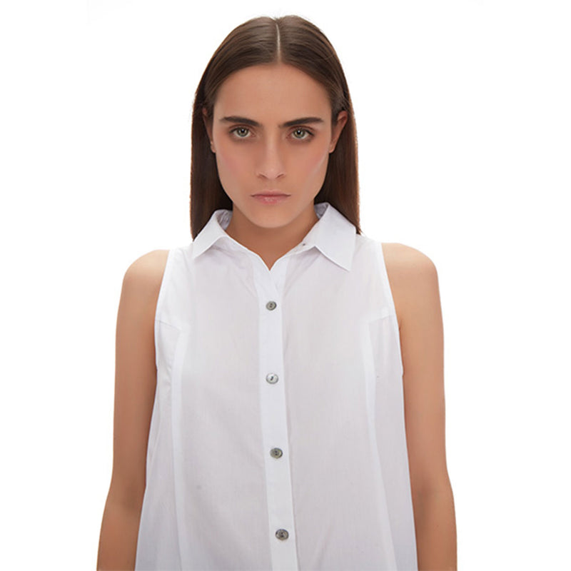Chiara Pleated Button-down Shirt - New York Look fashion retail style designer brands like Uma