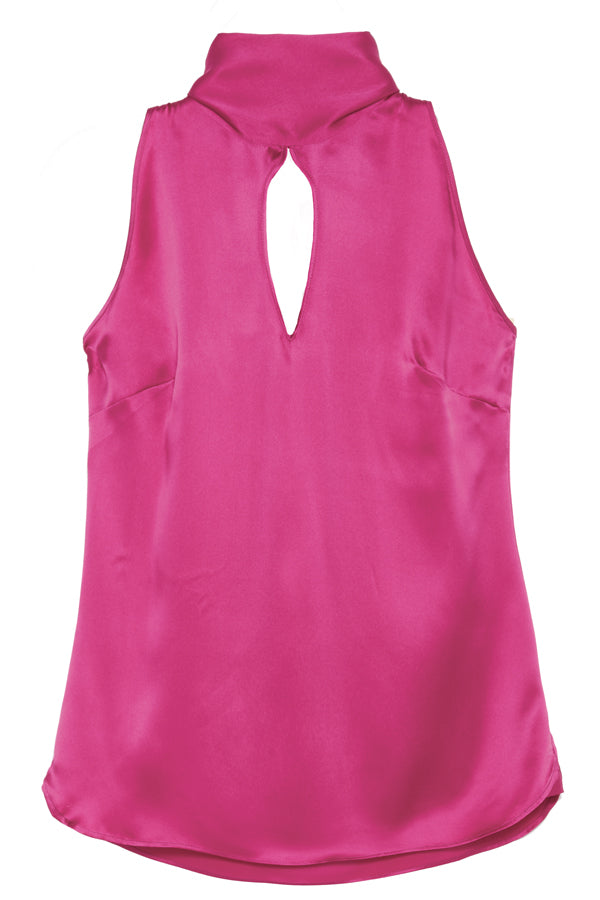 SHANNON KEY HOLE BACK TIE SILK TOP - New York Look fashion retail style designer brands like Uma