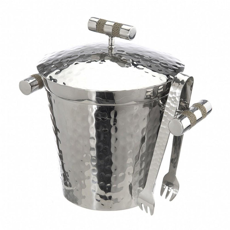 Hammered Stainless Steel Ice With Top BucketAnd Tongs