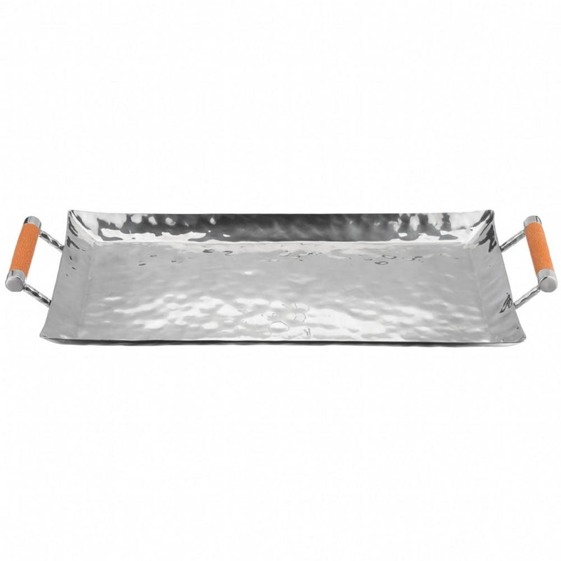 Hammered Stainless Steel Rectangle Tray 18x10 - New York Look fashion retail style designer brands like Uma