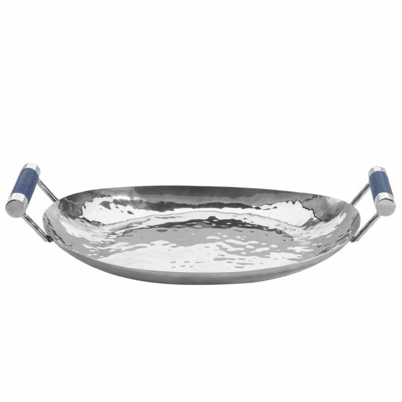 "Hammered Stainless Steel Oval Tray 18"" - New York Look"