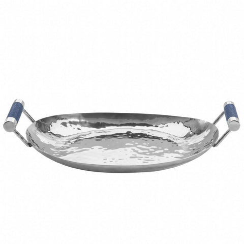 "Hammered Stainless Steel Oval Tray 18"" - New York Look fashion retail style designer brands like Uma"