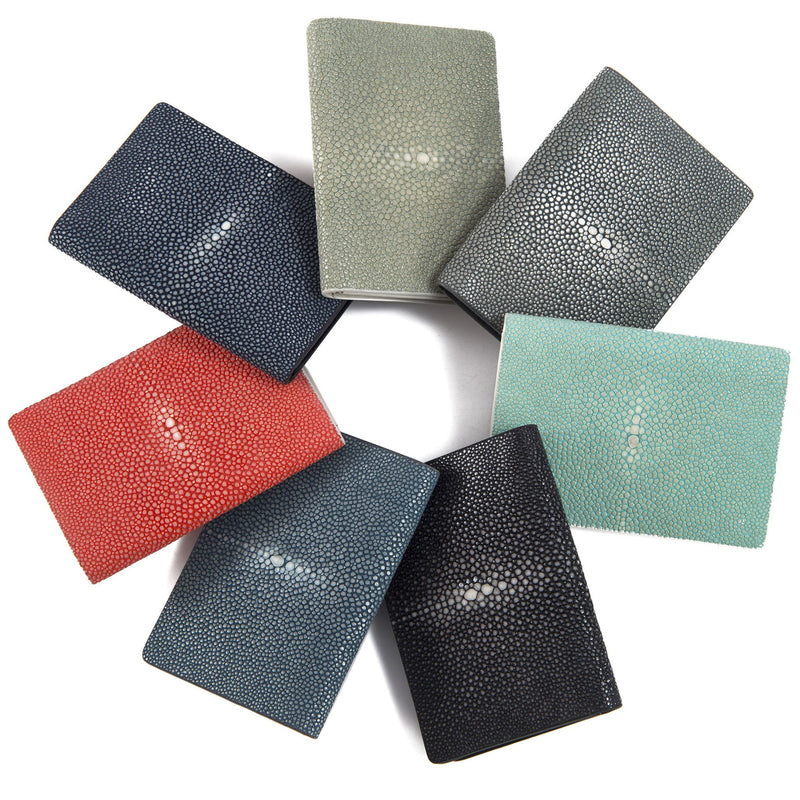 Taylor-Shagreen and Napa leather card case-Cement - New York Look fashion retail style designer brands like Uma