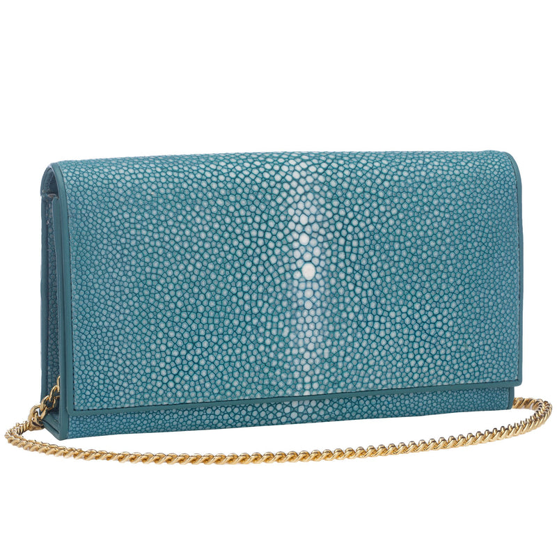 Shagreen Solid Perfect Clutch with Chain - Ocean - New York Look fashion retail style designer brands like Uma