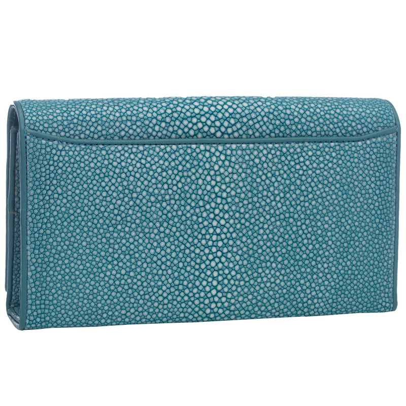 Shagreen Solid Perfect Clutch with Chain - Ocean - New York Look