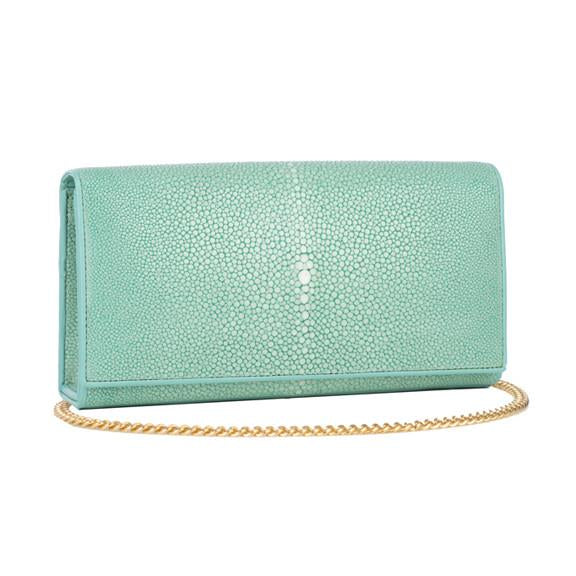Shagreen Solid Perfect Clutch with Chain - Aqua - New York Look fashion retail style designer brands like Uma