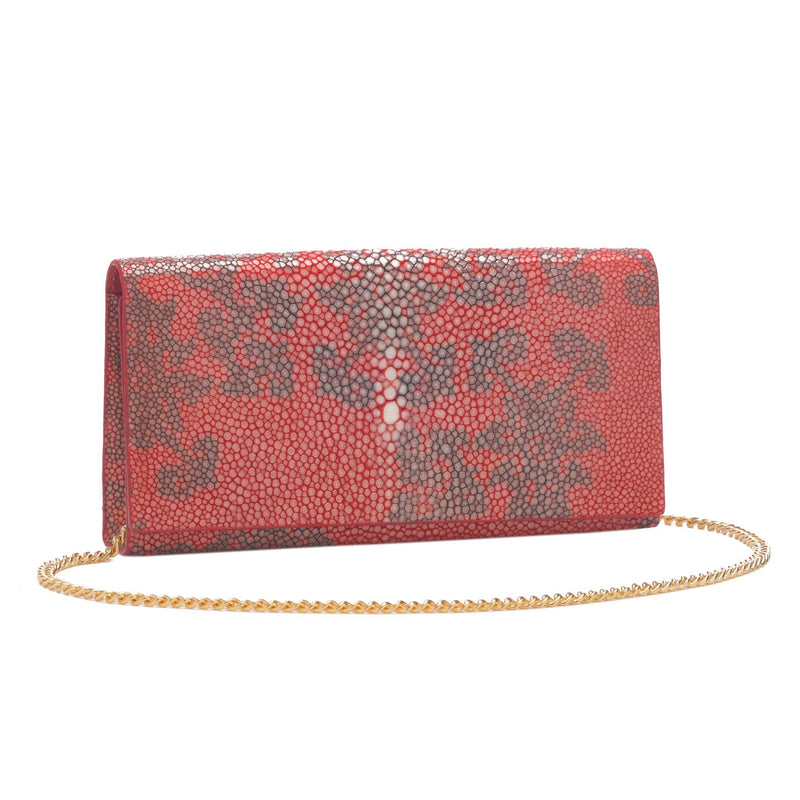 Deconstructed Print Shagreen Perfect Clutch with Chain - Poppy & Coffee - New York Look fashion retail style designer brands like Uma