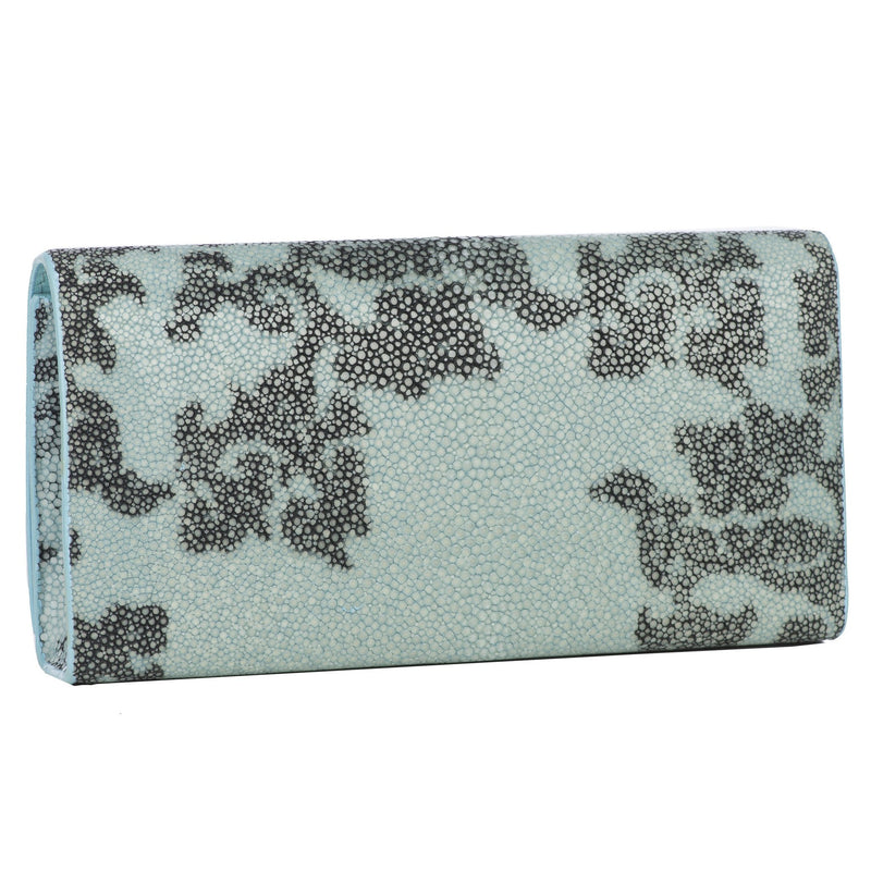 Deconstructed Print Shagreen Perfect Clutch with Chain - Sky & Gray - New York Look fashion retail style designer brands like Uma