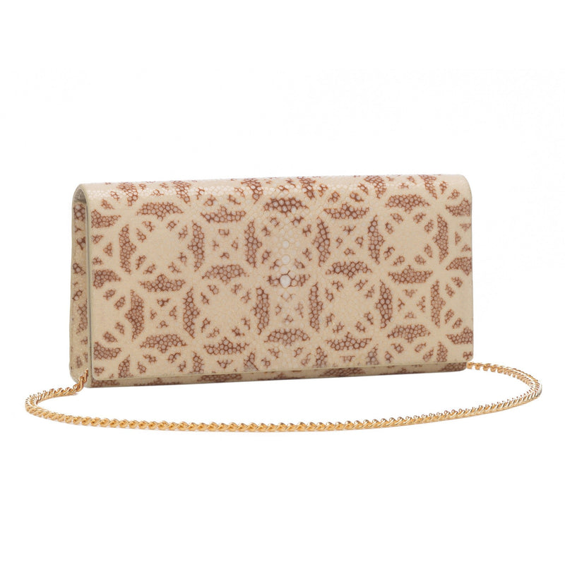 Geometric Print Shagreen Perfect Clutch - Ivory & Sand - New York Look fashion retail style designer brands like Uma