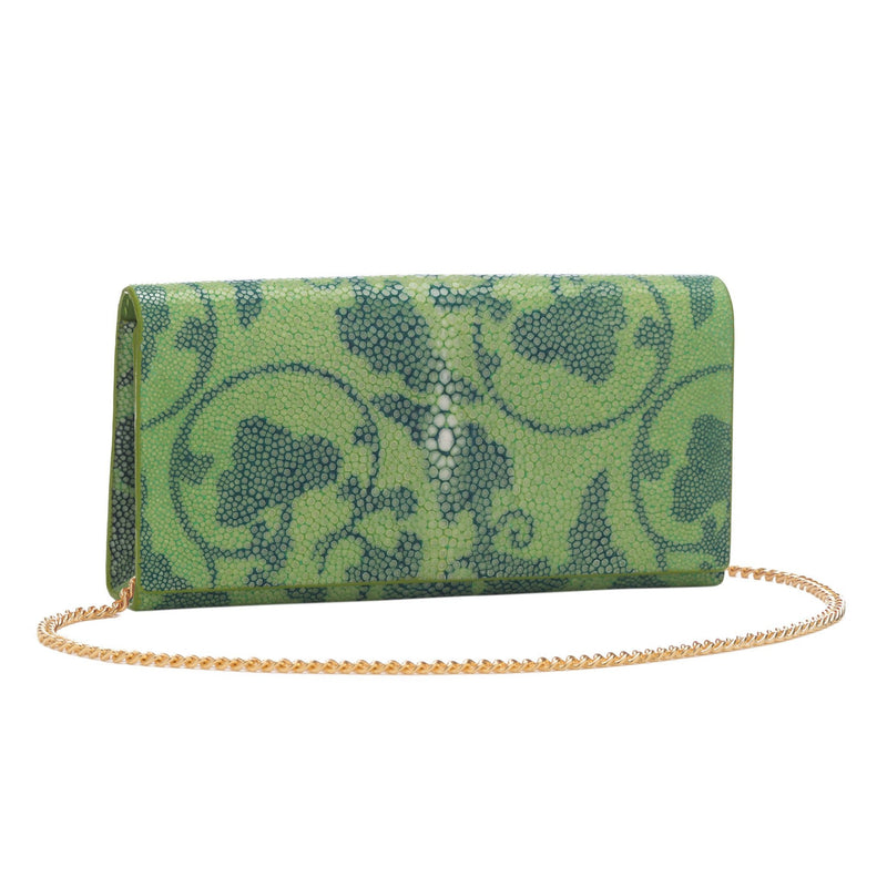 Vine Print Shagreen Perfect Clutch - Lime & Water - New York Look