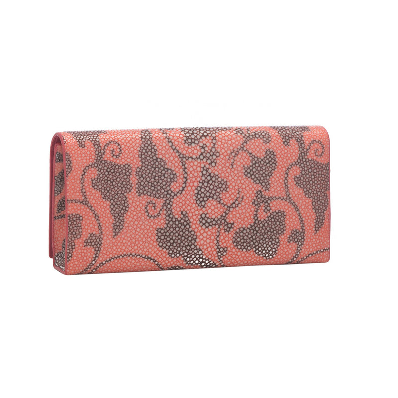 Vine Print Shagreen Perfect Clutch - Coral & Coffee - New York Look