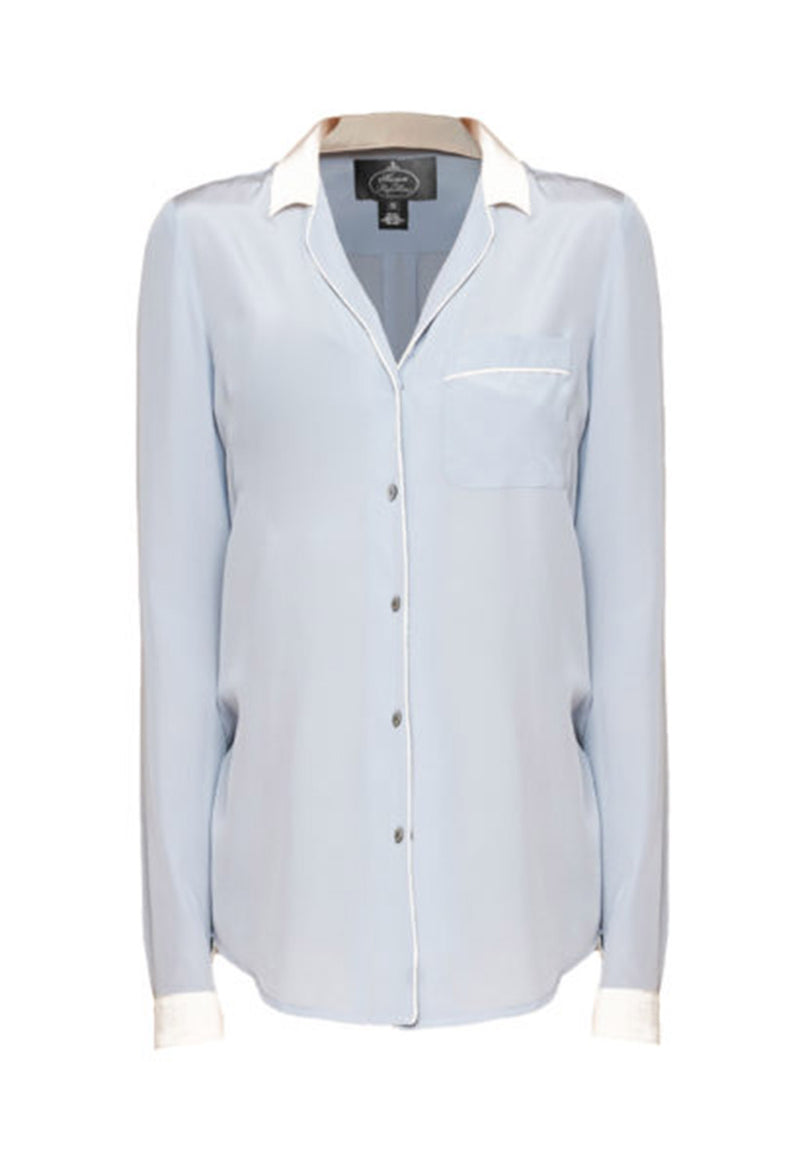 LOUISA SILK SHIRT VINTAGE BLUE/WHITE - New York Look fashion retail style designer brands like Uma
