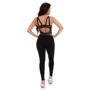 black, open back jumpsuit with mesh