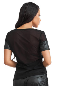 leather look t-shirts, mesh t-shirt