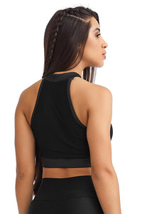 black zipper crop top