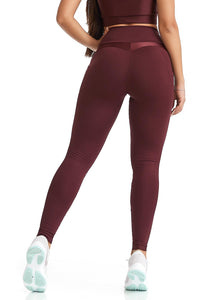 pocket leggings in burgundy color