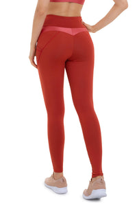 orange supplex leggings with pockets
