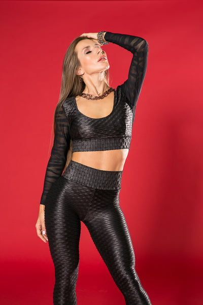 open back sexy crop top in black