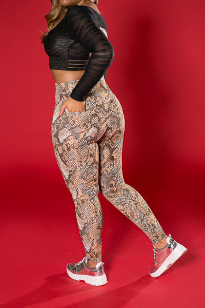My Sporty Wear Snakeskin Legging Pocket