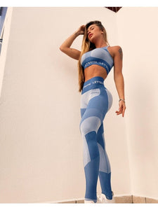 Let's Gym Seamless Fitness Leggings - Blue
