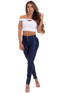 blue cirre pants with zipper