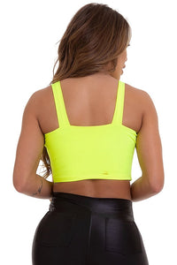 neon yellow crop top with padding