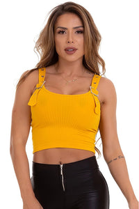 yellow crop top with belted straps