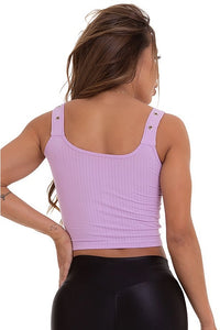 purple crop top with belter straps