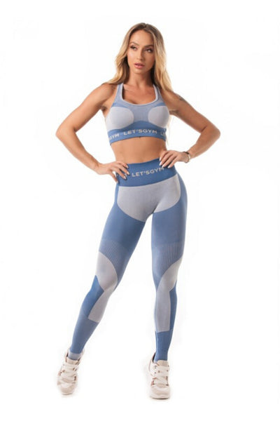 Leggings de Fitness sem costura Let's Gym - Azul