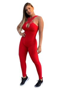 MSW Textured Anti-Cellulite Jumpsuit - Red