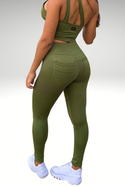 MSW Football  Leggings with Pockets - Olive