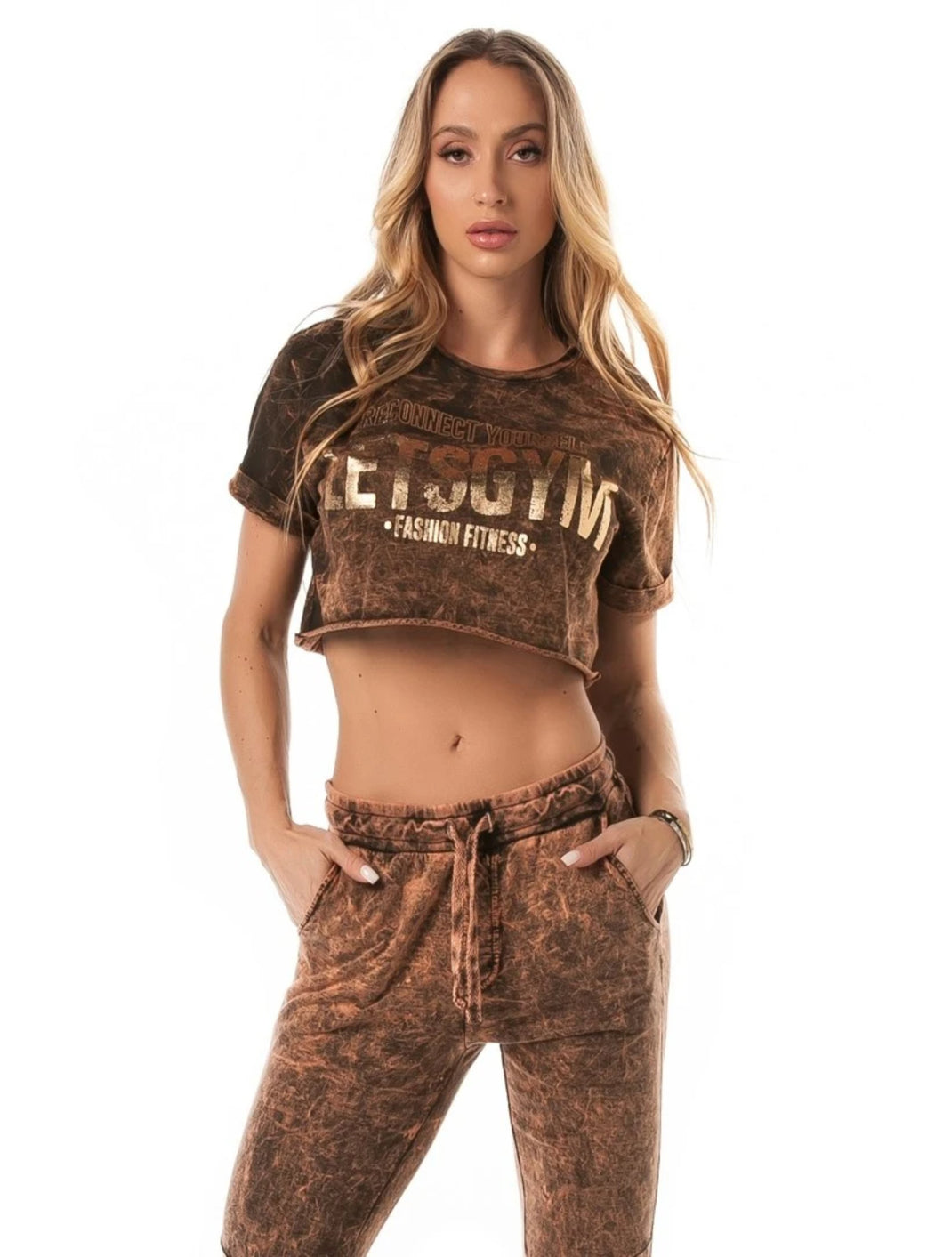 Let's Gym Cropped T-Shirt Stoned Bronze