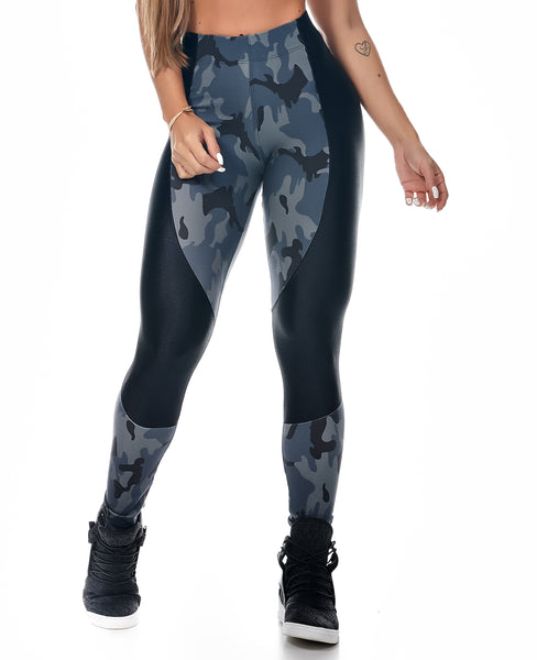 LET'S GYM CROSS TRAINING LEGGINGS - Black and Blue Camouflage - MYSPORTYSHOP