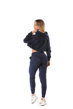 Let's Gym Cropped Stoned Hoodie - Blue