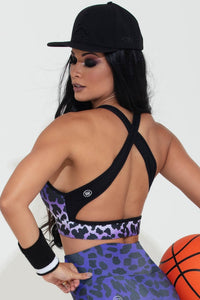 animal print purple top, hipkini sports bra,