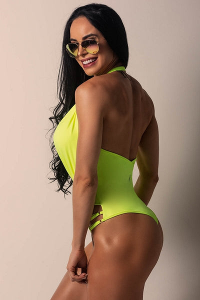 neon yellow bodysuit