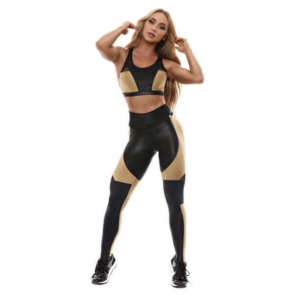 sexy gold and black shiny leggings,