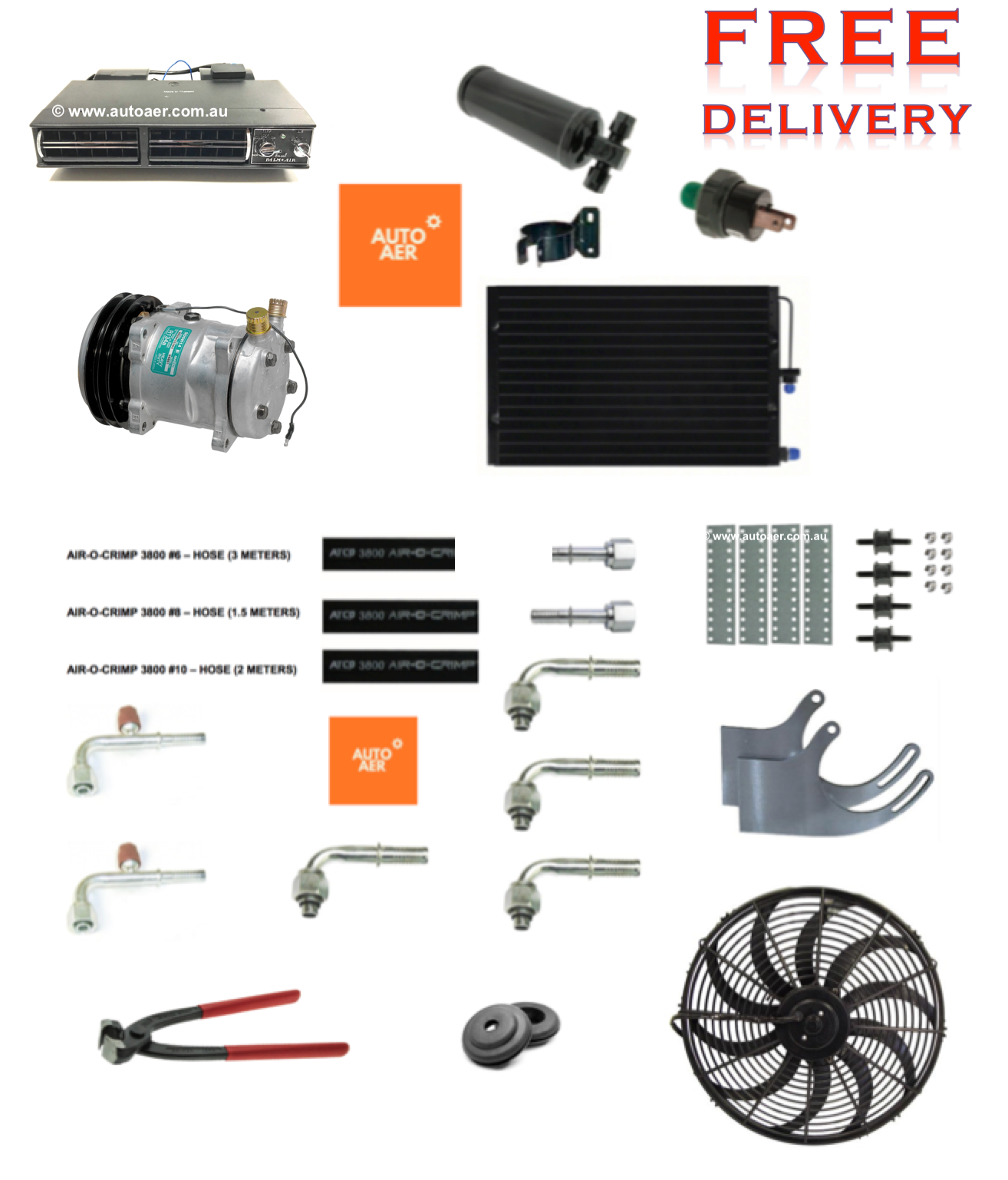 COMPLETE UNDER DASH AIR CONDITIONING COOL ONLY - KIT 6 on