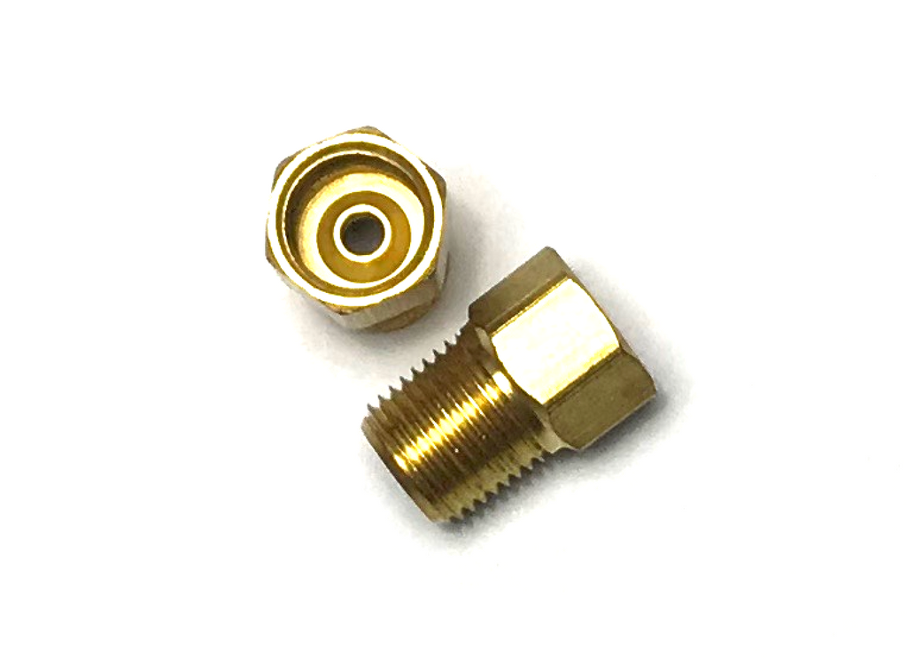 "3/8"" x 1/8 NPT BRASS INVERTED FLARE UNION - QTY 2"