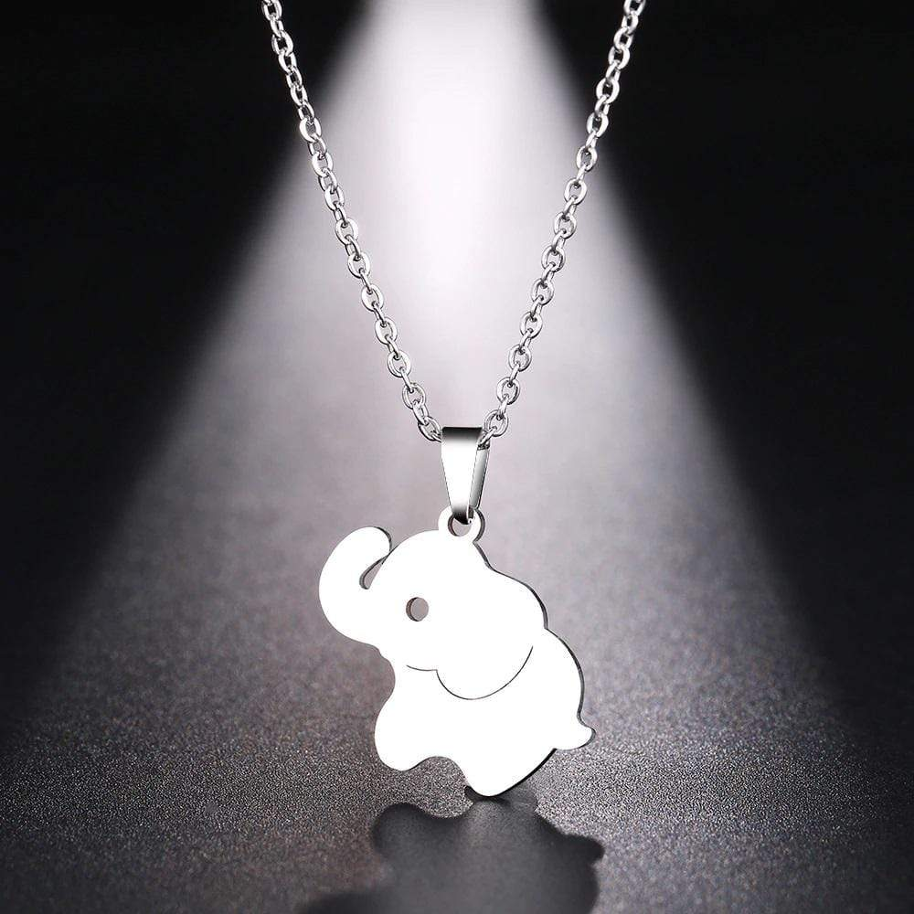 Elephant Shirt Store Accessories Cute Hand Enameled Elephant Pendant Silver