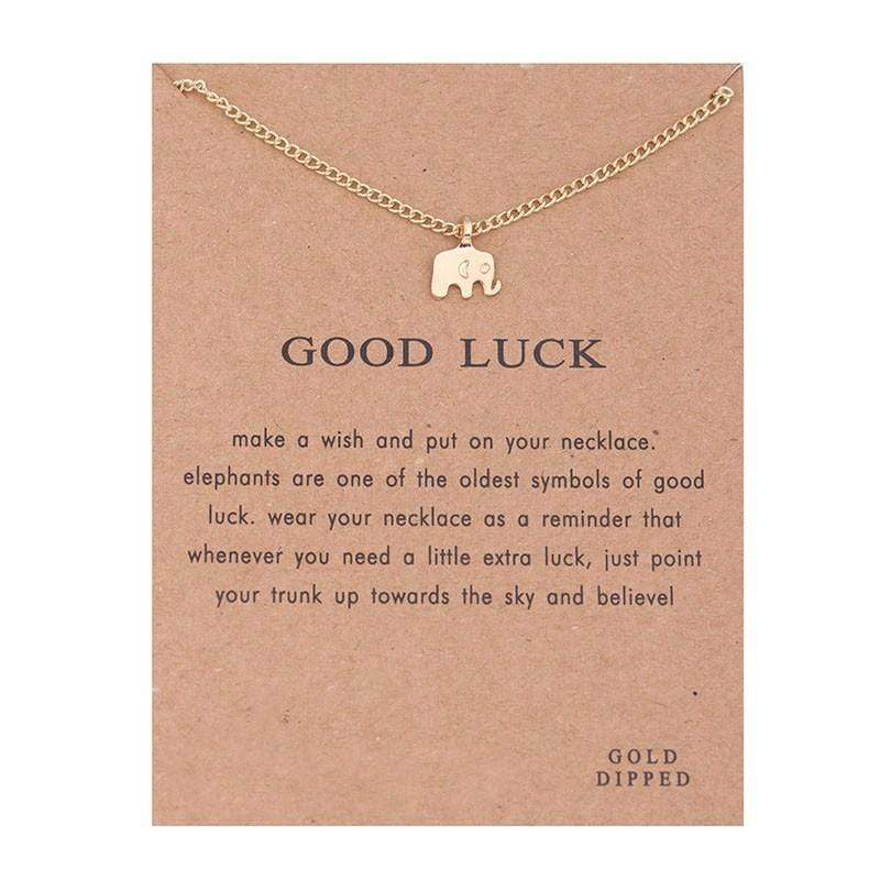 Elephant Shirt Store Accessories Good Luck Elephant Gold Plated Pendant with Good Luck Card